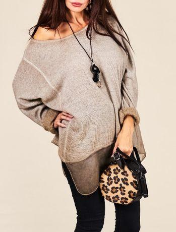 Stylowa włoska bluzka/sweter z naszyjnikiem Italia Moda uni M-XL