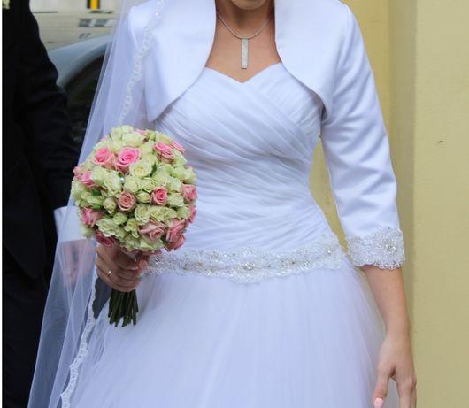 Suknia ślubna biała 36/38 Linia A / wzrost 171 cm.