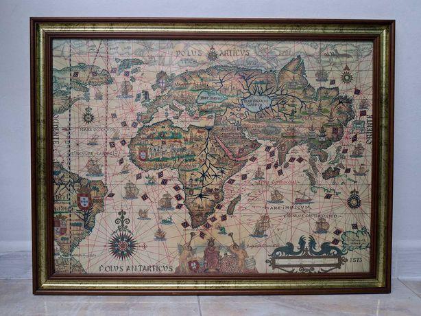 """Quadro Mapa Antigo """"mundo dos descobrimentos"""" 56x74cm Vintage"""