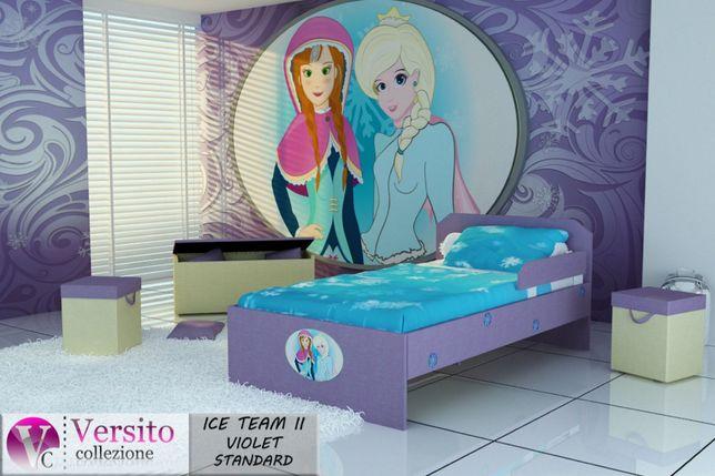 Łóżko dla dziewczynki z księżniczkami,dziecięce z materacem,dla dzieca