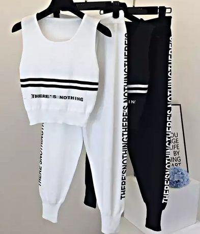 Biały czarny zestaw bluzka + spodnie napisy oversize