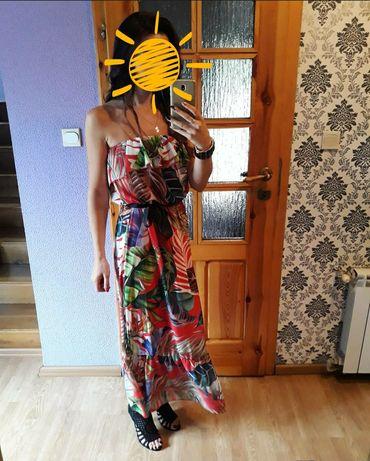 Sukienka hiszpanka długa kwiaty s m l komunia wesele