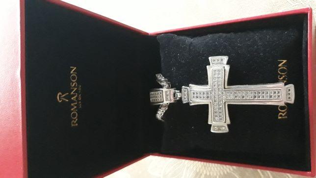 Покупай подарок - комплект Серебрянный крест с цепью 925 проб ROMANSON
