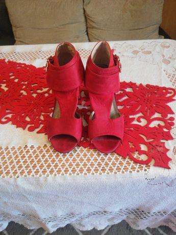 Buty damskie ciemny czerwień