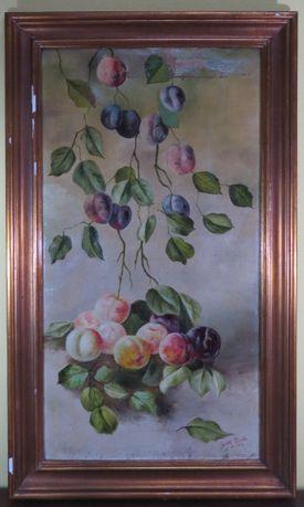 Óleo sobre tela representando Natureza Morta com frutos; Assinada
