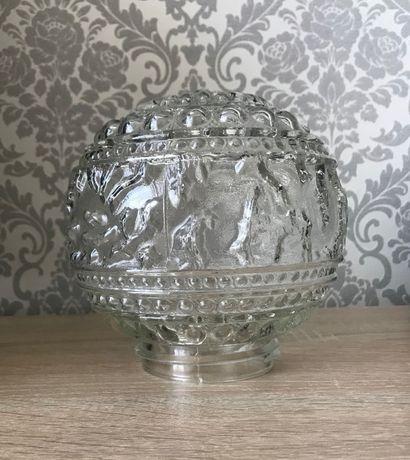 Szklany zdobiony klosz vintage PRL