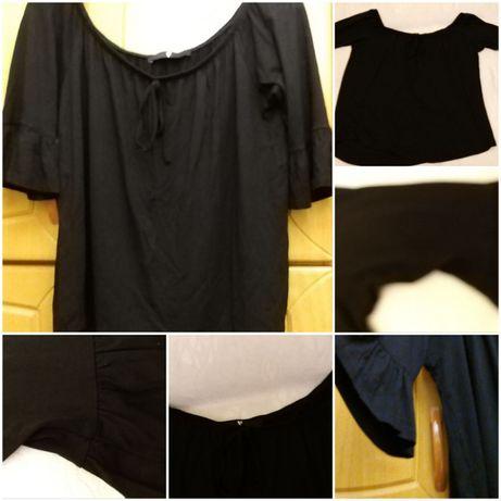 Bluzka Hiszpanka czarna roz 40 materiał rozciagliwy wiskoza