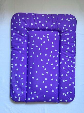 Мягкий пеленатор фиолетовый в белый горошек 50 х 70 см