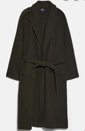 Płaszcz Zara khaki szlafrokowy L