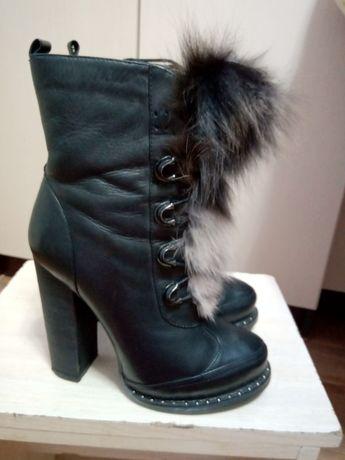 Сапоги,ботинки с чернобуркой, зима,кожа