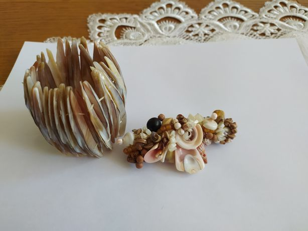 Spinka do włosów z muszli i bransoleta z macicy perłowej
