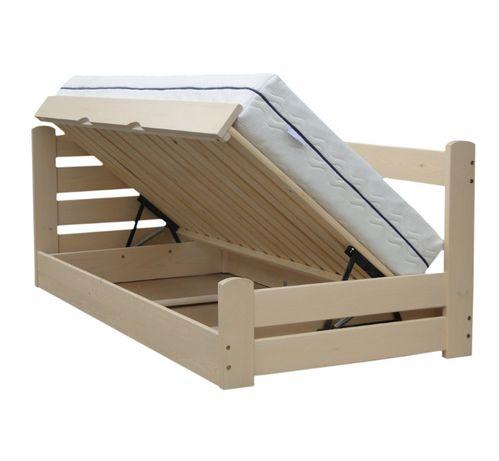 łóżko podnoszone z boku sosnowe z pojemnikiem GRAND PRIX 80x190