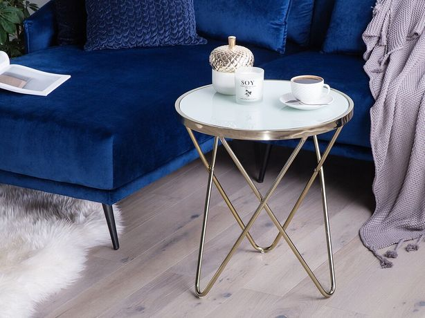 Mesa de apoio branca com dourado ø 50 cm MERIDIAN II - Beliani