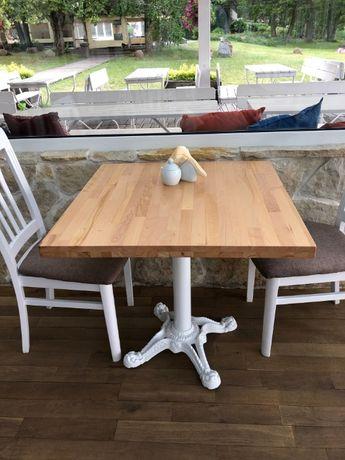 Bukowy stół na jednej nodze 60x60 metal postument do restauracji loft
