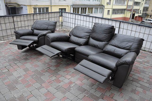 Кожаный гарнитур. Кожаный диван, кресло. Реклайнер. Диван из Европы.