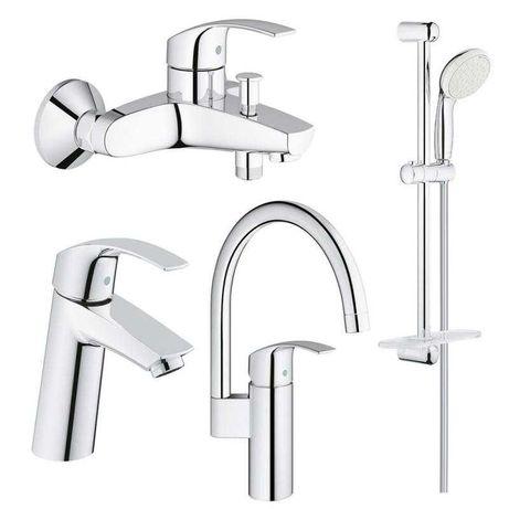 Набор смесителей Grohe-умывальник, ванна + душ стойка и для кухни
