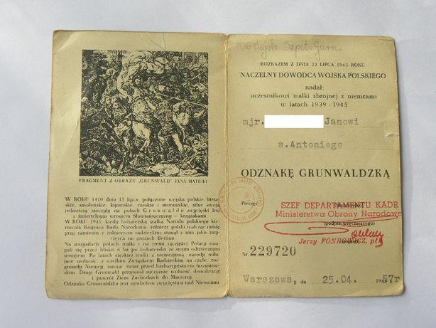 Odznaka Grunwaldzka - Legitymacja : RARYTAS !!!
