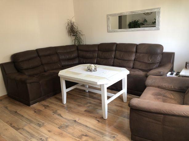 kanapa naroznik sofa fotel i stół zestaw