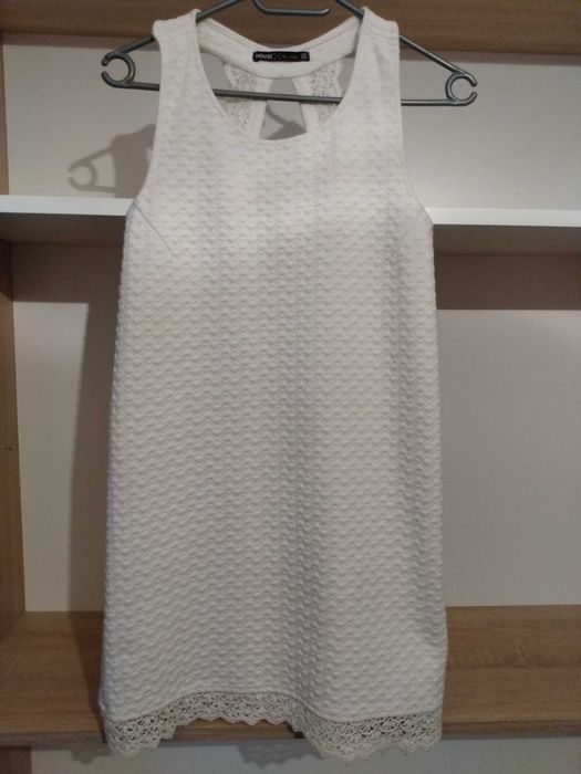 Biała sukienka mini, xs Lubawa - image 1