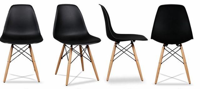 Krzesło czarne Zestaw 4 krzeseł do salonu jadalni