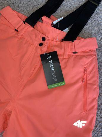 Spodnie narciarskie damskie 4F nowe neonowy róż, różowe