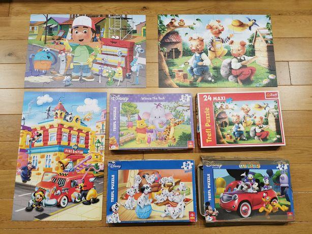 6x duże puzzle 24 elementy Disney myszka Miki Maniek