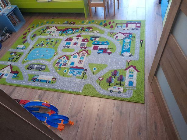 dywan dla dziecka wzór miasto auta, drogi