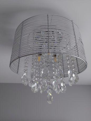 Żyrandol/plafon srebrny z kryształkami Italux Fella