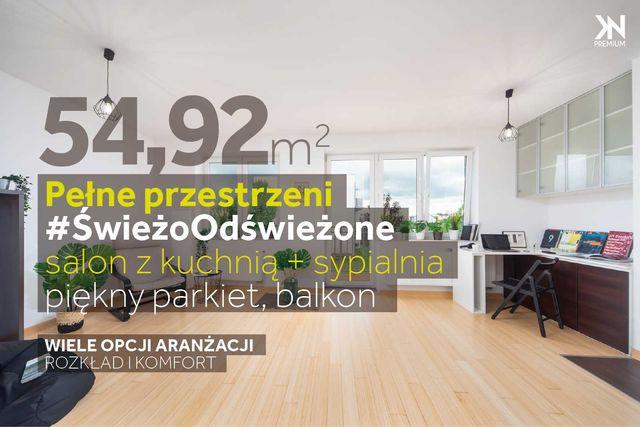 Pełne przestrzeni   #Odświeżone   55 m2   2 pokoje   balkon   parkiet