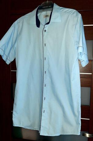 Błękitna koszula męska z krótkim rękawem rozmiar kołnierzyka 41