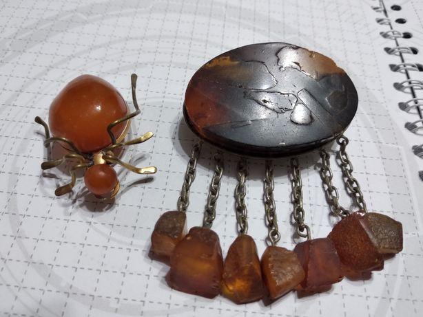 Янтарная брошь винтаж янтарь муравей