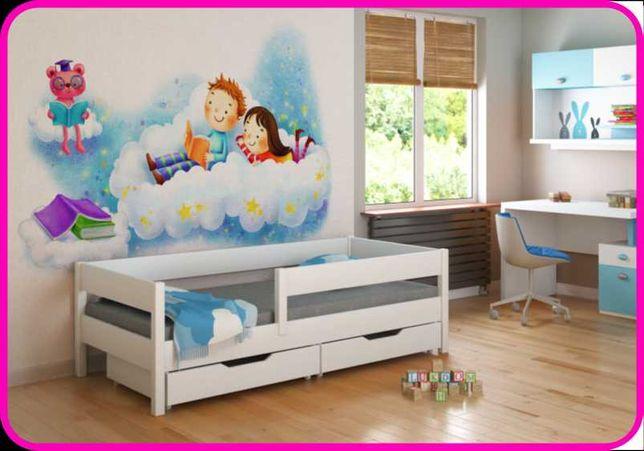 Ліжко дитяче дерев'яне з захисним бортиком Польща - Лу