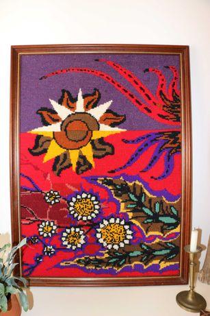 Quadro em talagarça bordado a lã - Vintage