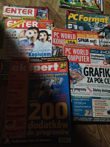 Zestaw 6 magazynów, Enter, PC World Computer, PC Format i 12 płyt CD