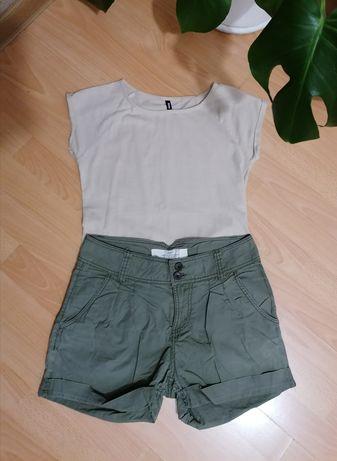 Zestaw ubrań szorty i t-shirt basic beżowy S h&m Sinsay