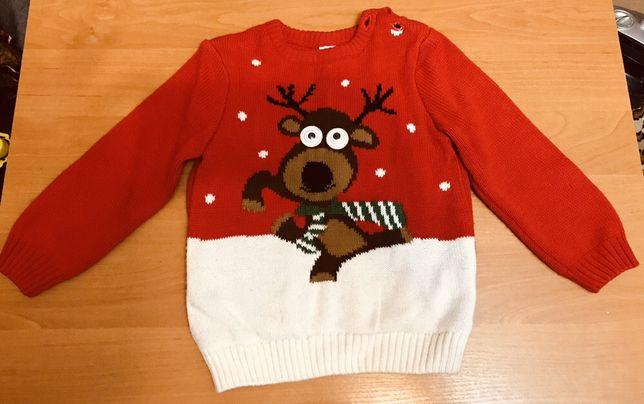 Новогодний свитер с оленем на мальчика 2-3 г/Новорічний светр