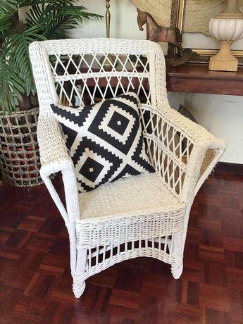 cadeira, verga, vintage, branca, rustico