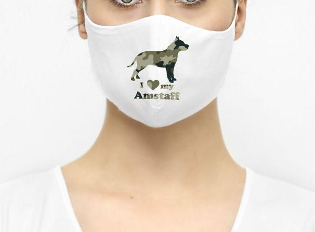 Maseczka ochronna maska pies amstaff moro