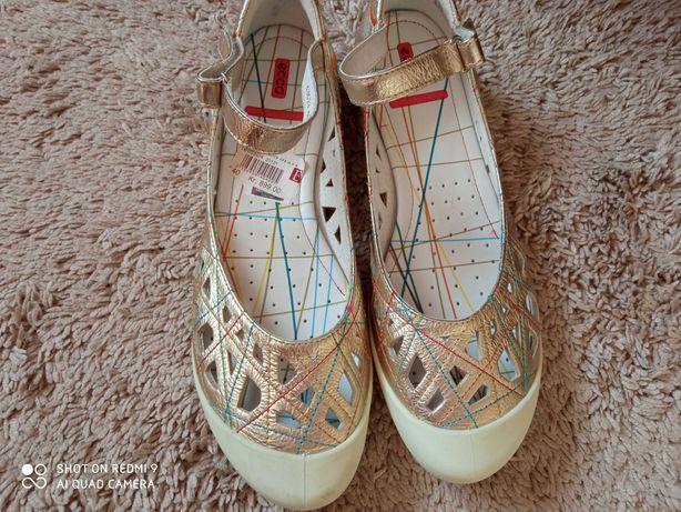Ecco balerinki , sandały sportowe, złote 40 wkł.26, stan BDB