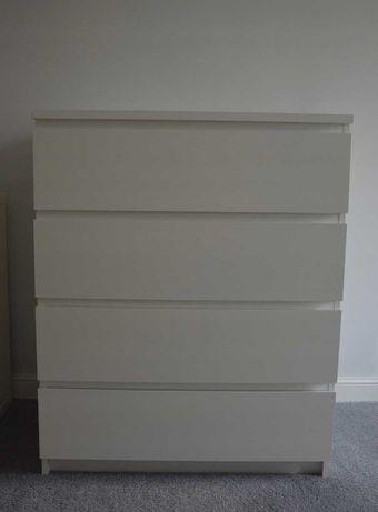 IKEA MALM Komoda, 4 szuflady, biały, 80x100 cm