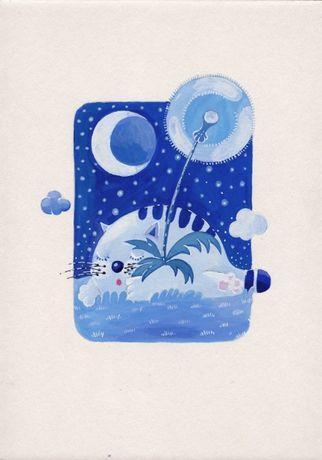Obraz oryginał kot dmuchawiec noc akwarela tempera akryl (nie olejny)