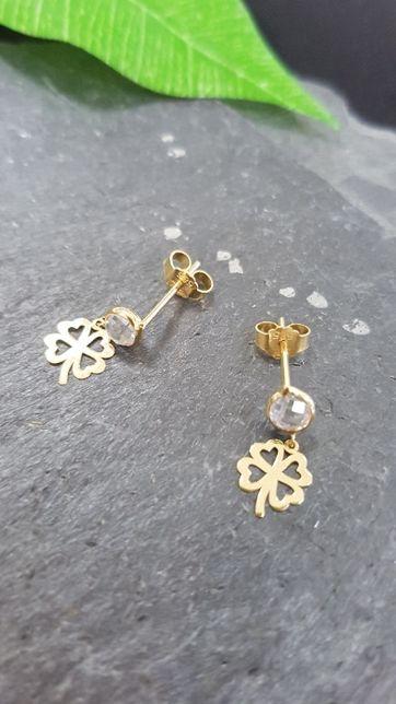 (k) Złote kolczyki , wiszące Koniczynki 585 0,83 Nowość