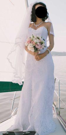 Фата свадебная белая (длинна до середины бедра)