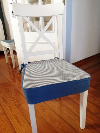 4 Capas de cadeiras em azul e branco