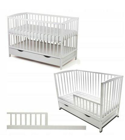 Łóżeczko niemowlęce białe + materac i kołdra