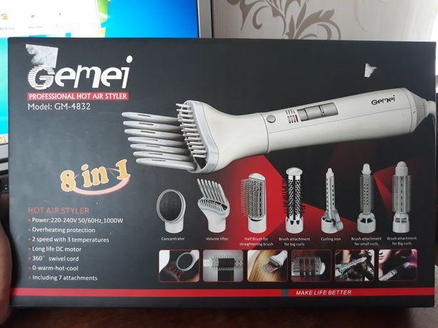 Фен щетка для укладки волос с 7 насадками Gemei GM-4832