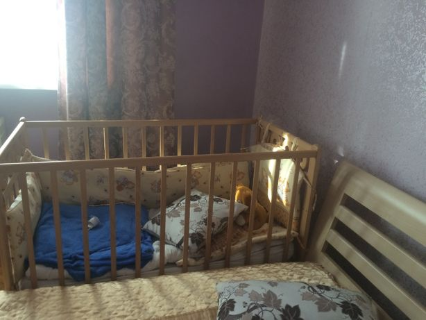 ліжко кроватка колиска бук дерево светлый кокос гречка матрас