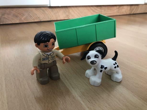 Klocki Lego duplo  pies ludzik i przyczepa