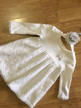 Белое платье нарядное, с короной, 74