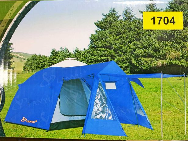 Палатка 1704 туристическая 4 местная LANYU LY-1704 с тамбуром инавесом